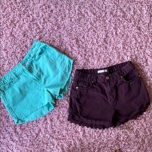 2 for 1 shorts Teal and Purple Refuge shorts